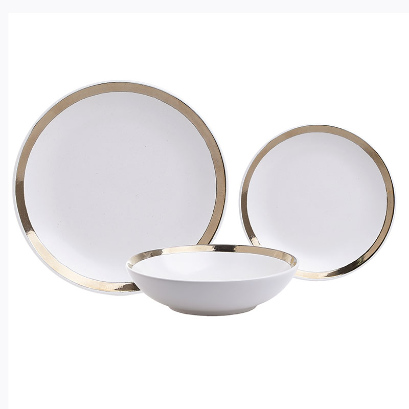Σετ Φαγητού 18 Τεμαχίων Inart Λευκό Χρυσό 3-60-332-0002